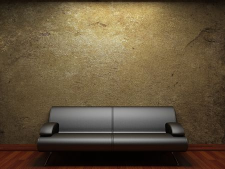 damaged cement: old concrete wall and sofa