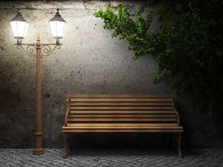 bench: old concrete wall and bench