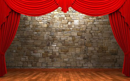 Red velvet curtain opening scene made in 3d Stock Photo - 6574254
