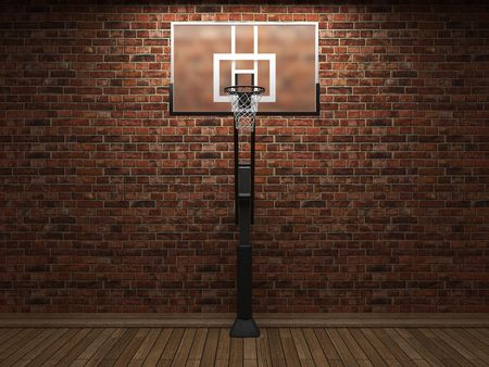 hoops: old brick wall and basketball made in 3D graphics Stock Photo