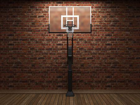 canestro basket: vecchio muro di mattoni e basket in grafica 3D
