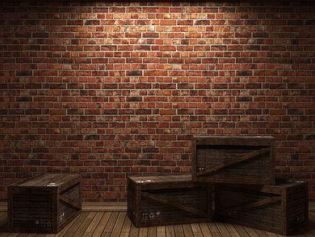 조명 된 벽돌 벽 및 3D 그래픽에서 만든 상자 스톡 콘텐츠