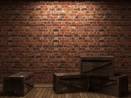 illuminated brick wall and boxes made in 3D graphics photo