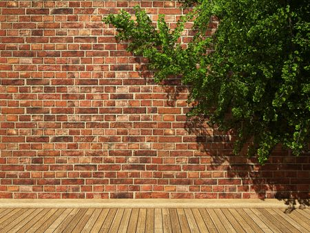 illuminated brick wall and ivy made in 3D graphics photo