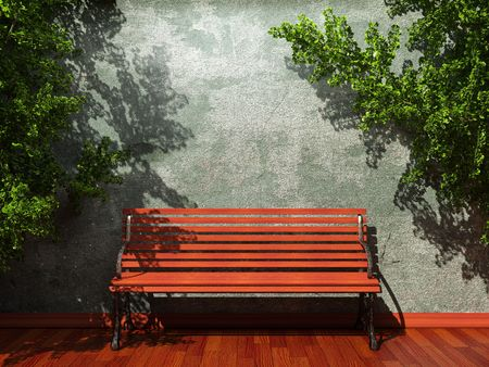 old concrete wall and bench made in 3D graphics photo