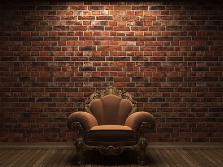 revetment: illuminated brick wall and chair made in 3D graphics
