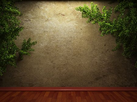 cracked cement: old concrete wall and ivy made in 3D graphics