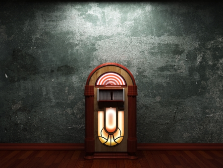 jukebox: old concrete wall and jukebox made in 3D graphics