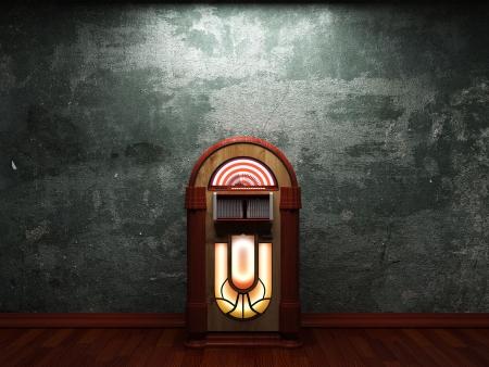 oude betonnen muur en jukebox gemaakt in 3D graphics