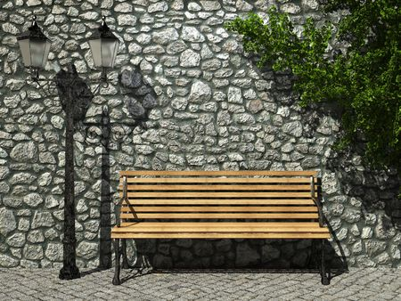 illuminated stone wall and bench made in 3D graphics photo