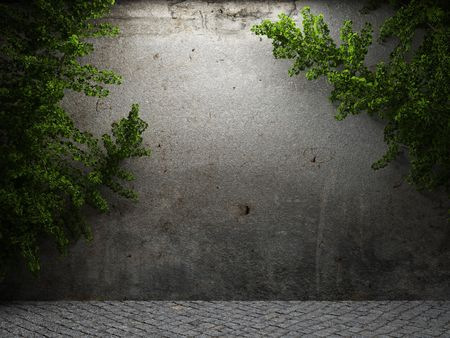 old concrete wall and ivy made in 3D graphics Stock Photo - 6617052