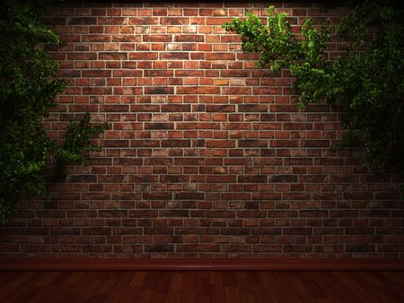 brickwall: illuminated brick wall and ivy made in 3D graphics