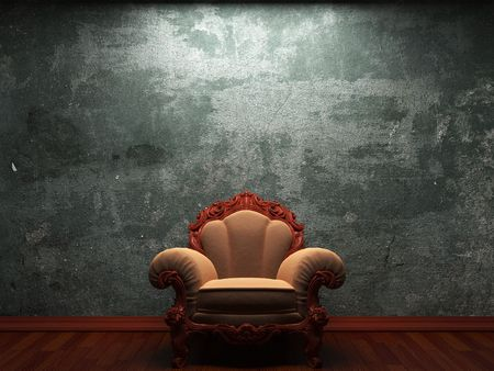 old concrete wall and chair made in 3D graphics Stock Photo - 6617050