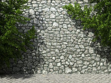 rockwall: illuminated stone wall and ivy made in 3D graphics Stock Photo