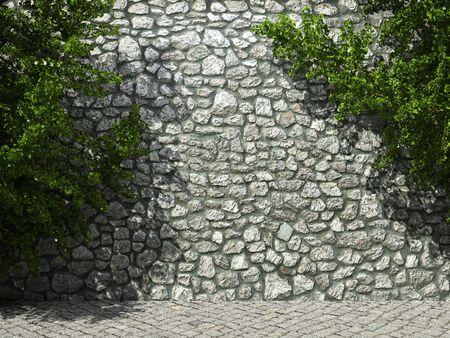 ivies: muro di pietra illuminato ed edera made in grafica 3D