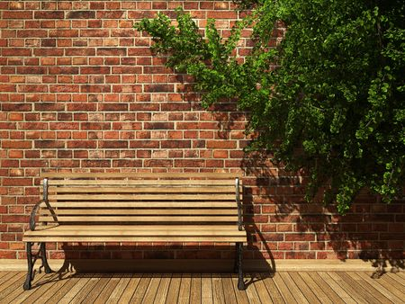 illuminated brick wall and bench made in 3D graphics photo