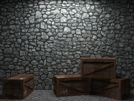 조명 된 돌 담 및 3D 그래픽에서 만든 상자