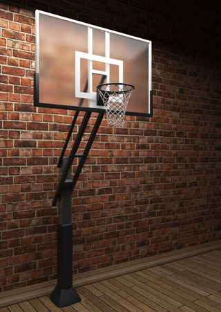 revetment: old brick wall and basketball made in 3D graphics Stock Photo