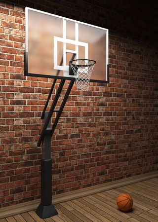 old brick wall and basketball made in 3D graphics photo