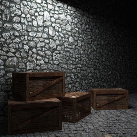 old container: illuminated stone wall and boxes made in 3D graphics