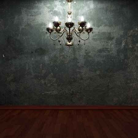 old concrete wall and chandelier made in 3D graphics Stock Photo - 6654034