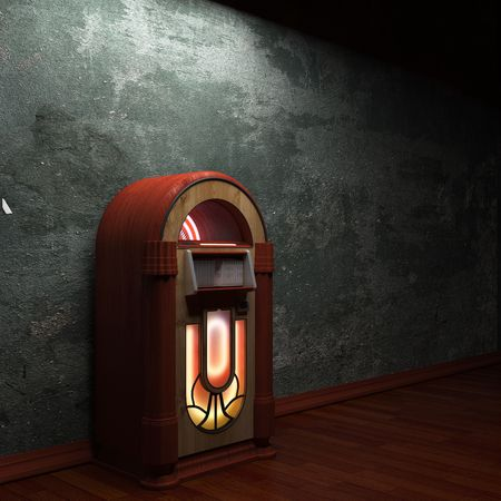 jukebox: old concrete wall and jukebox