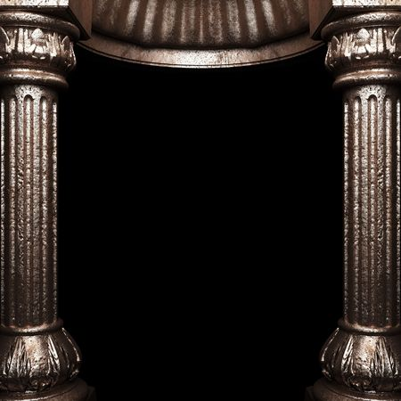 bronze columns and arch  photo