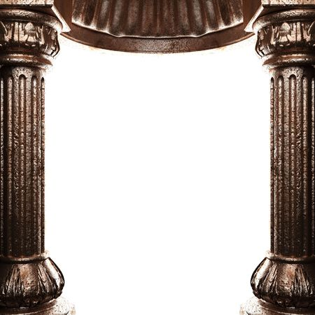 pilaster: bronze columns and arch  Stock Photo