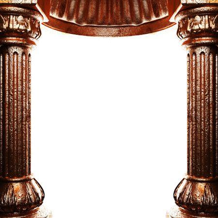 bronze columns and arch  photo