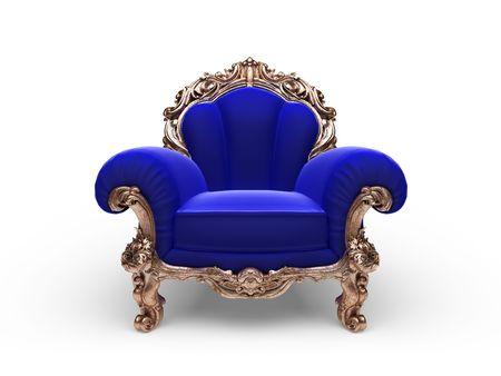 velvet background: isolated classic golden chair  Stock Photo