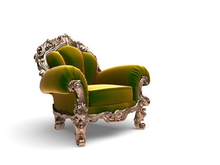 armchair: isolated classic golden chair  Stock Photo
