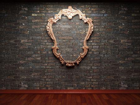illuminated brick wall and frame  photo
