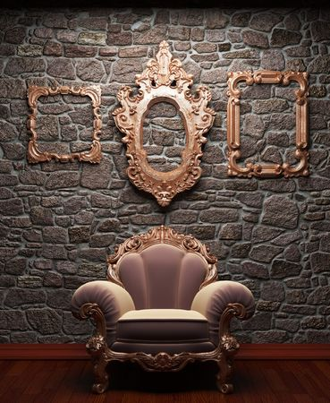illuminated stone wall and chair  photo