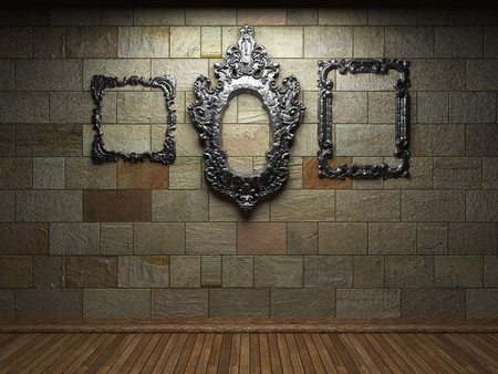 illuminated stone wall and frame  photo