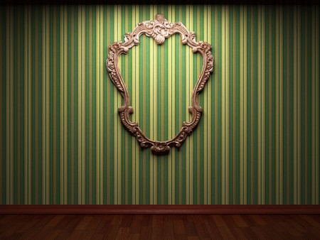 mirror frame: illuminated fabric wall and frame  Stock Photo