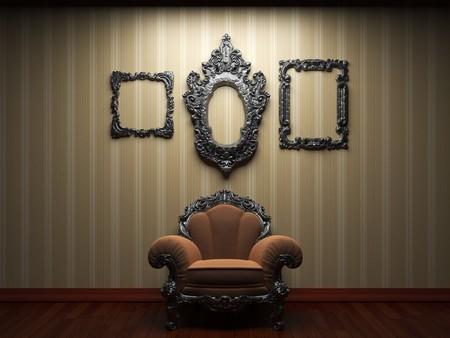 pared iluminada de tejido y silla  Foto de archivo