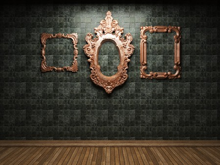 illuminated tile wall and frame  photo