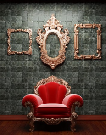 illuminated tile wall and chair  photo