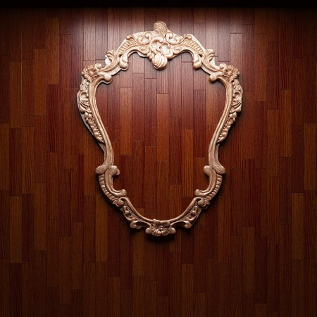 illuminated wooden wall and frame  photo