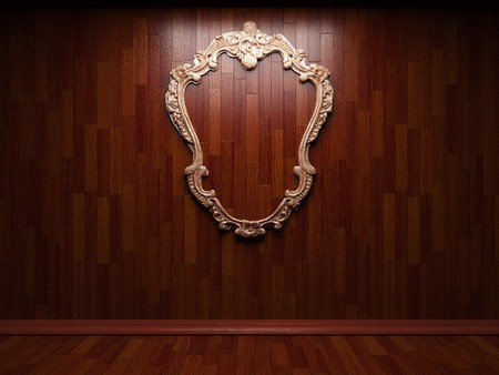 illuminated wooden wall and frame Stock Photo - 7035709