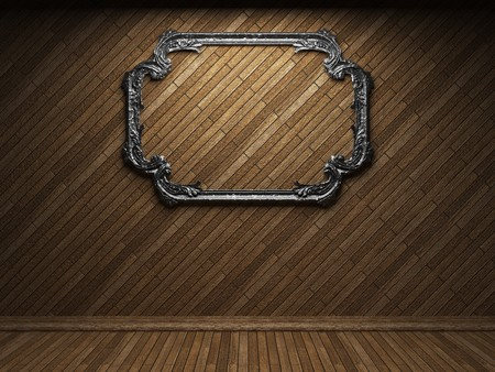 illuminated wooden wall and frame  Stock Photo - 7035729