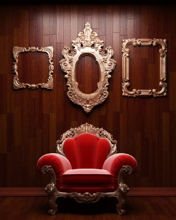illuminated wooden wall and chair Stock Photo - 7035707