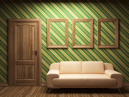 brown wallpaper: sofa, door and frames