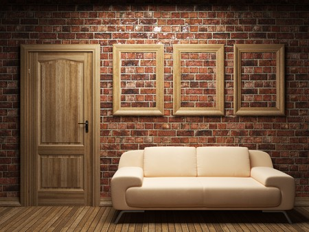 living room wall: sofa, door and frames