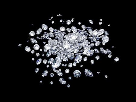 Diamonds on black surface Stock Photo - 7068408