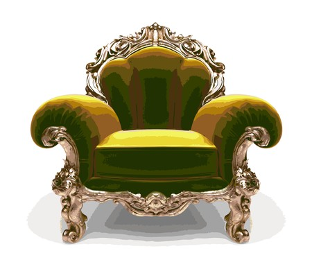 isolated classic golden chair  Vector