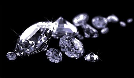 diamond stones: Diamonds on black surface Illustration