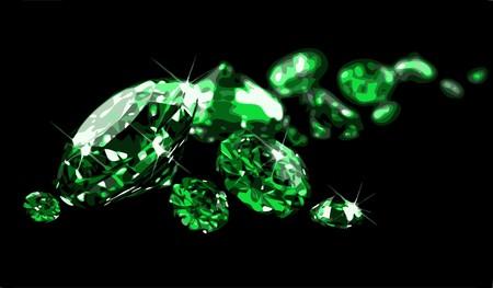 piedras preciosas: Esmeraldas sobre la superficie negra