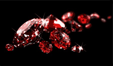 ruby gemstone: Rubies on black surface Illustration