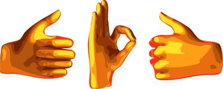 phalanx: OK mano arancia astratto, isolato su sfondo bianco